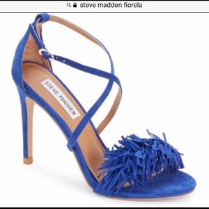 Steve Madden bright blue heels w/fringe sz 8m